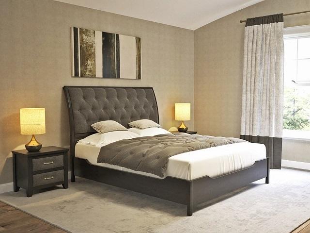Двуспальная кровать Lester (Лестер) с основанием, ткань/массив сосна (Райтон)