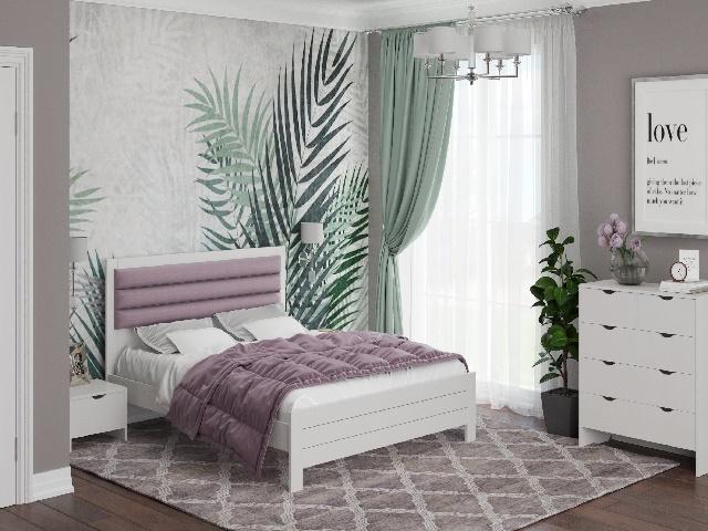 Кровать Prima (Прима) с основанием, массив сосна/ткань (Райтон)