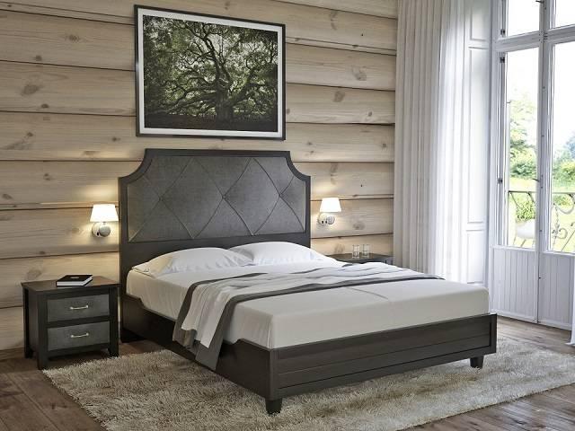 Двуспальная кровать Richard (Ричард) с основанием, ткань/массив сосна (Райтон)