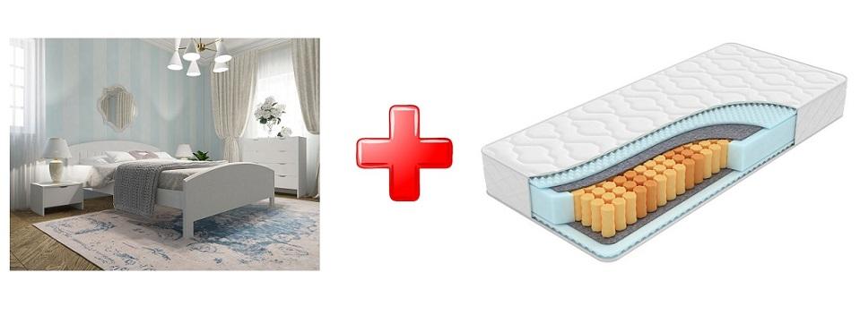 Кровать Vesna Line 1 (с основанием) массив сосна + Матрас Feel Soft