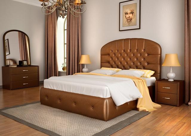 Кровать Венеция с основанием (Экокожа) (Лонакс)